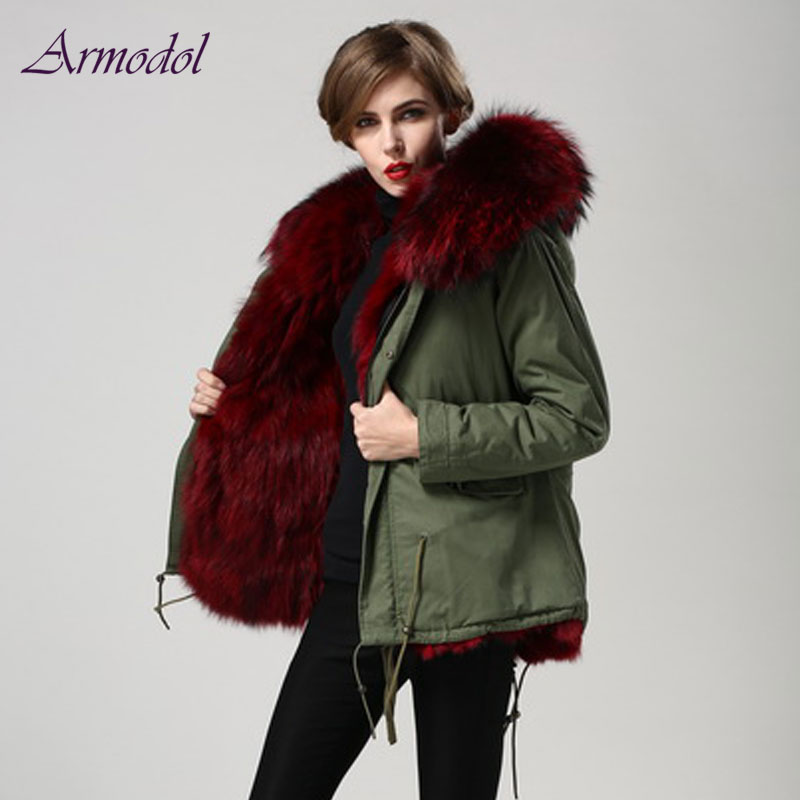 2017 Winter New Style Fur Jacket Big size Wind Coat with Big Raccoon Hood Real Fox Fur Jacket Factory Direct Sale Women Parka