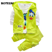 2017 Boys Clothes Suits Cartoon Donald Duck Baby Kids Boys Outerwear Hoodie Jacket Baby Sport Boys Clothing Sets Suits(China)