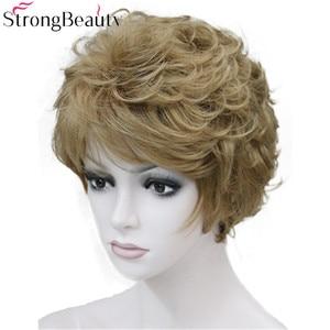 Image 2 - StrongBeauty искусственные синтетические волосы, женские короткие вьющиеся парики для женщин, много цветов на выбор