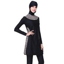 Zon Hijab Badpak Luipaard Black Volledige Cover Modest Islamitische Hijab Swimwears Burkinis voor Moslim Vrouwen Meisjes