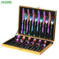 16 PCS /24 PCS Rainbow Colorful Gold Plated Stainless Steel Cutlery Spoon Four Piece Set For Hotel Tableware Gift Party Supplies