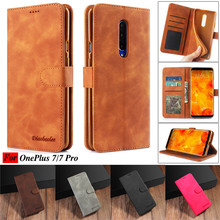 OnePlus 7 Case PU Leather Vintage Wallet Cases For Pro Flip Stand Phone Coque One Plus Cover