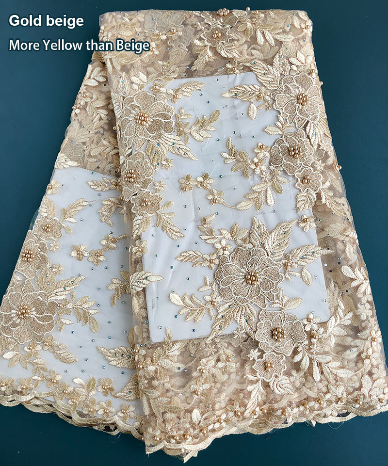 Gold beige floral neat embroidery French lace latest African Tulle fabric with stones beads 5 yards