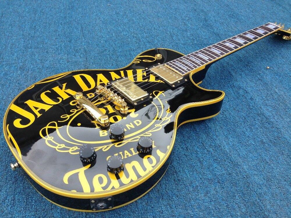 Free Shipping  Mahoagny Body  yellow binding Jack daniels Standard LP Electric guitar Guitarra all color Available цена и фото