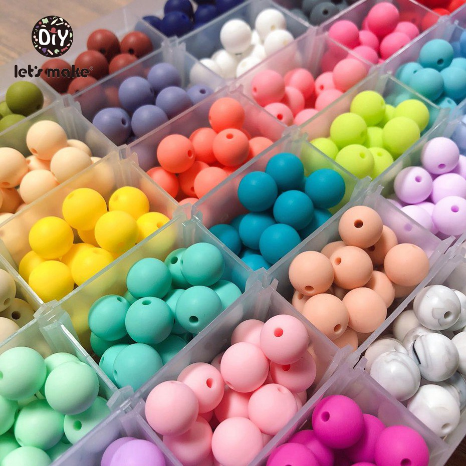 Let's Make Baby DIY Beads Silicone Round Beads 20mm 20pc Teething Jewelry Food Grade Silicone Baby Teething Making Bracelets