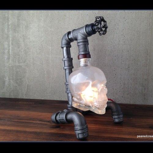 Lampe de Table crâne rétro style industriel barre créative applique murale moderne lampe de Table crâne verre crâne bouteille luminaire lampes