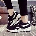 2016 Primavera Outono Estilo Mulheres Respirável Sapatos Casuais Sapatos de Lona Mulher Sapato Plataforma Zapatos Mujer Chaussure Femme