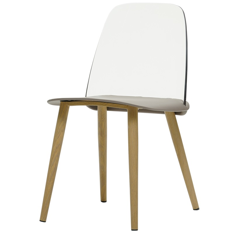 Chair with Transparent Plastic Backrest / Metal Feet with Wood Grain Finish