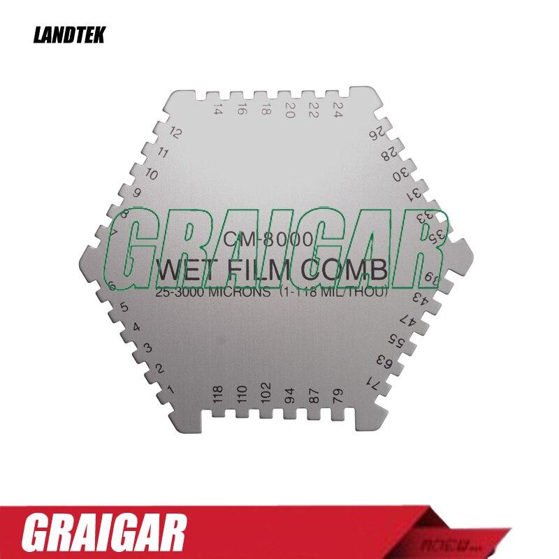 Landtek CM-8000 Wet Film Comb Coating Thickness Meter Measuring Range: 5-118mil cm 8000 hexagon wet film comb