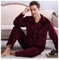 2017 Winter Spring Keep Warm Thick Coral Fleece Men Pajamas Sets of Sleep Tops & Bottoms Flannel Sleepwear Thermal Nightclothes
