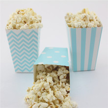 24pcs/lot 11.5*7*5cm BABY BLUE Mini Popcorn Boxes Candy for Party Supplies