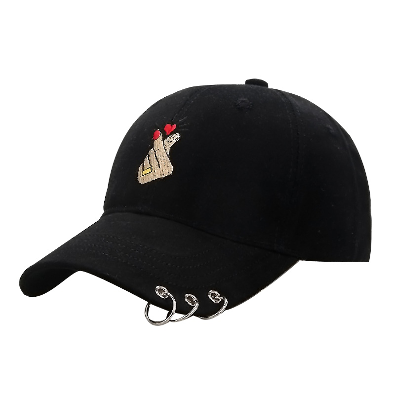 Cap   Women 2019 Fashion Finger Embroidery Metal Ring   Baseball     Cap   Adjustable Bone   Cap   Breathable Hiking Hats Snapback W1
