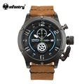 INFANTRY Luxury Brand Sport Watch Nightvision Quartz Clock Casual Leather Army Military Watch Male Relogio World Peacekeepers
