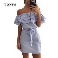 TQNFS 2017 Ruffle Short Dress Women Off Shoulder Strapless Beach Summer Dress With Belt Band Sexy