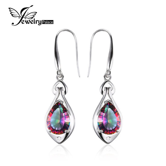 Jewelrypalace Water Drop 6 8ct Rainbow Fire Mystic Topaz Dangle Earrings Pure 925 Sterling Silver New