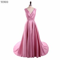 Real Sample A Line Taffeta V Neck Long Evening Dresses 2017 Cheap Sleeveless Lace Up Pleat
