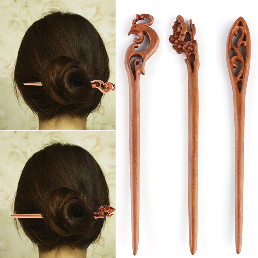 1 Pc Retro Ethnic Women Lady Wood Alloy Pearl Handmade Carved Chopstick Hair Stick Pin Wood Hair Stick Hair Accessories