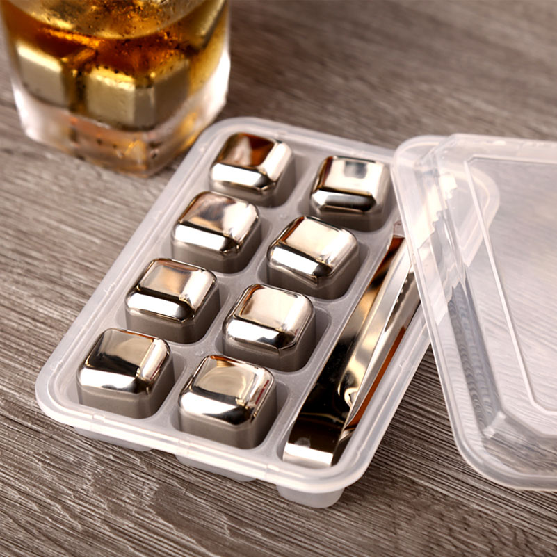 4/6/8 PCS Stainless Steel 304 Whisky Stones Ice Cubes In Package, Whiskey Cooler Rocks,Ice Stone Islande With Plastic Box