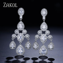 ZAKOL Gorgeous Cubic Zircon Grape Cluster Drop Earring With Exclusive Sliver Color Jewelry For Bridal Wedding FSEP211