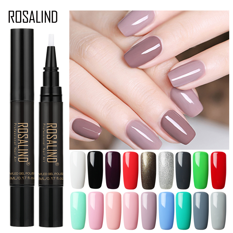 ROSALIND 5ml Nail Polish Pen Need Cured by UV LED Lamp Soak-Off White Color for nal art Gel Lacquer(China)