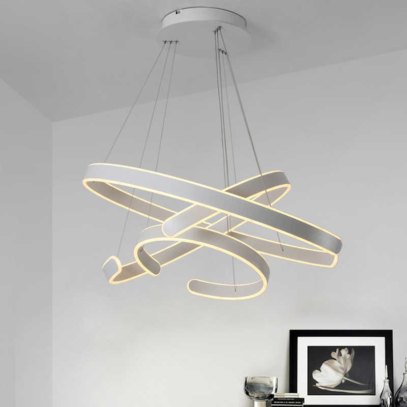 AC90-264VModern luzes pingente para sala de estar jantar geometria círculo anéis corpo alumínio acrílico conduziu a iluminação da lâmpada do teto