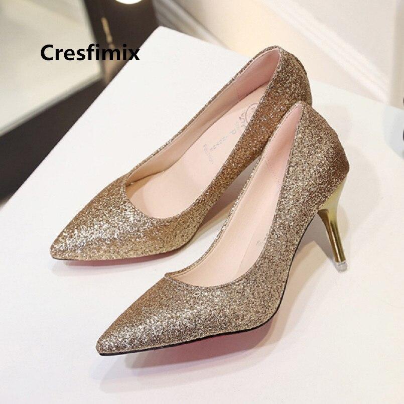 Cresfimix femmes mode confortable rue chaussures dorées dame décontracté argent chaussures à talons hauts cool chaussures femmes hauts talons c3231b