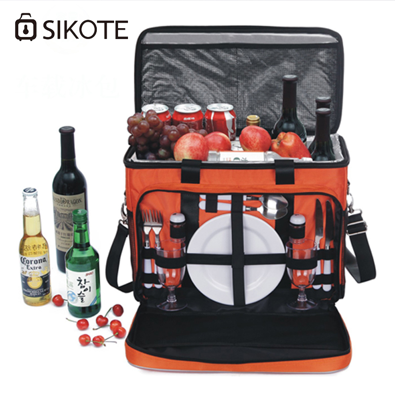 SIKOTE High Quality Portable Food Picnic Bags Insulation Keep fresh Car Cooler Bag 42L Large Lunch Box Thermo Bag Waterproof aaa quality thermal insulated 3d print neoprene lunch bag for women kids lunch bags with zipper cooler insulation lunch box