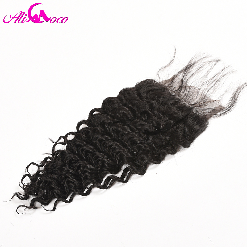 Ali Coco Hair Brazilian Deep Wave Lace Closure With Baby Hair 4x4 Free Part Human Hair Closure Non Remy Hair Natural Color