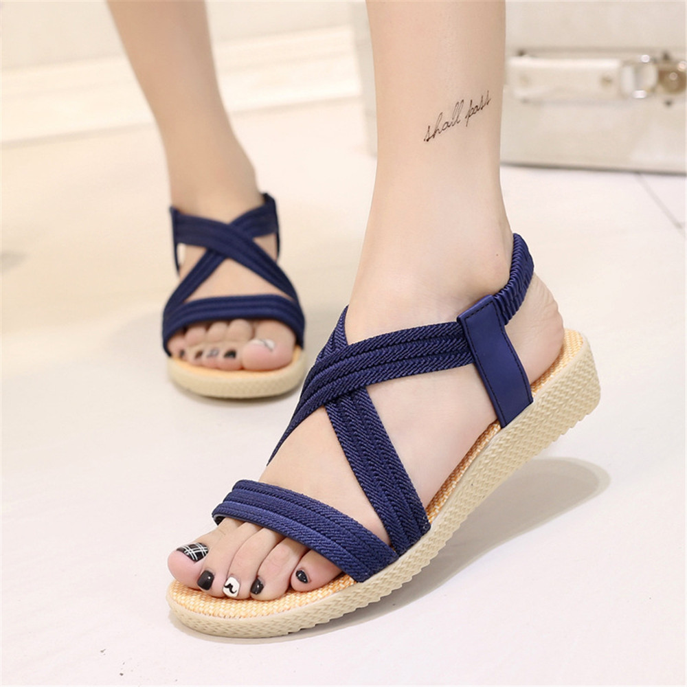 Roman Sandals Flats Women Summer Cross-Strap Elastic Ankle Mujer Zapatos-De-Mujer Lady