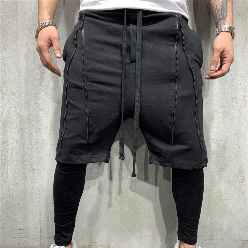 2019 Double Layer Sweatpants Men Summer Quick-drying Breathable Running Men Pants Sports Training Fitness Short Pants