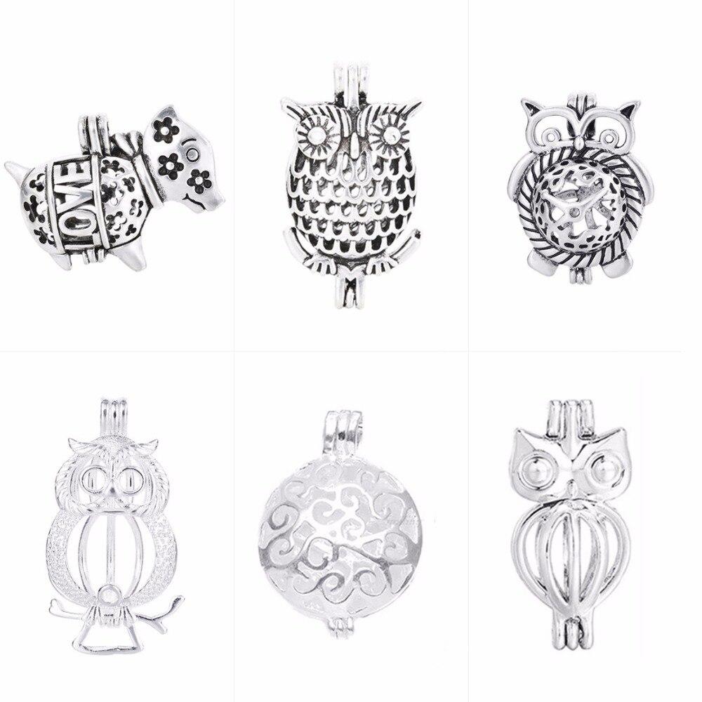 1 Stück 16mm Perle Käfig Meer Glas Runde Filigrane Silber Überzogene Kupfer Hohl Anhänger Diffusor Halskette Medaillon Für Diy Schmuck