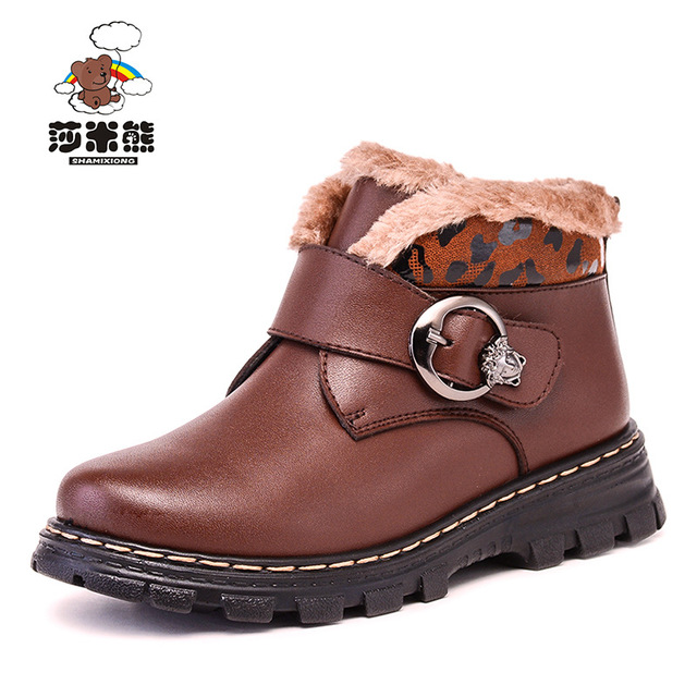 2017 autumn and winter boys and girls thick waterproof genuine leather boys leather loafers boys formal leather children shoes k