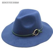 HANGYUNXUANHAO Special Felt Hat Men Fedora Hats with Belt Women Vintage Caps Wool Warm Jazz Chapeau Femme Feutre