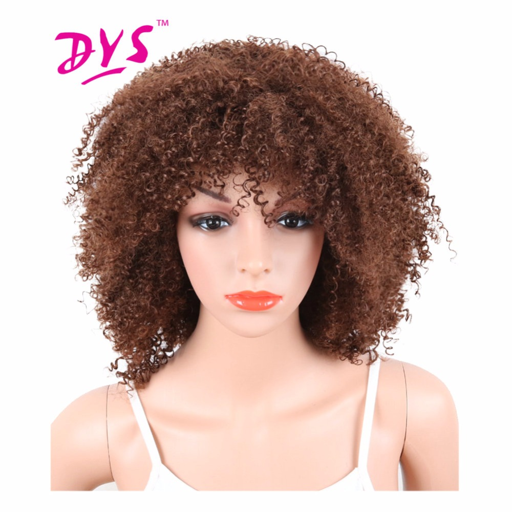 Deyngs Pixie Cut Afro Kinky Curly Short Synthetic Wigs With Bangs For Black Women Naturally Brown Color African American Hair