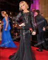 Custom Product Black Lace Full Sleeves Celebrity Dresses Chiffon Long Gown Keyhole Evening Dresses