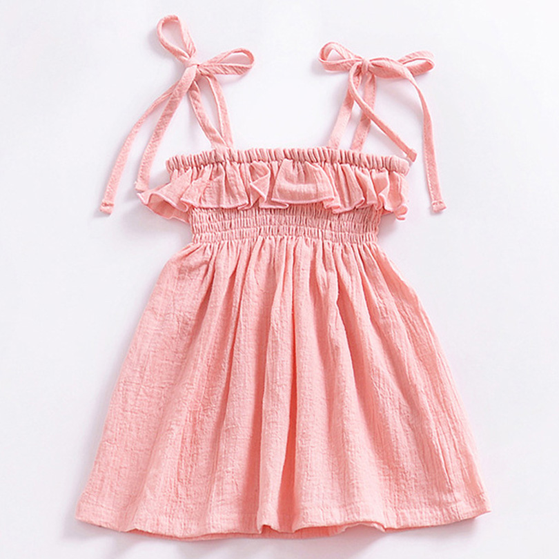 2018 New Summer Baby Girls Dresses Solid Pink Sundress for Girls Beach Holiday Children Dress Kids Clothes Vestido Linen Cotton voro beve princess sundress summer new 2017 fashion children clothes baby girl dress cartoon print cotton sundress