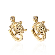 Fashion jewelry earrings cute little turtle 18K gold / platinum plated fine Zircon Earrings