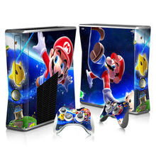 For Super Mario Skin Sticker Decal For Xbox 360 Slim Console and Controllers Skins Stickers for Xbox360 Slim Vinyl