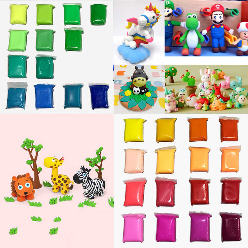 Light Clay Air Dry Polymer Plasticine Modelling Clay Super Light DIY Soft Creative Handgum Educational  Toys 36 Color 13G/1bag