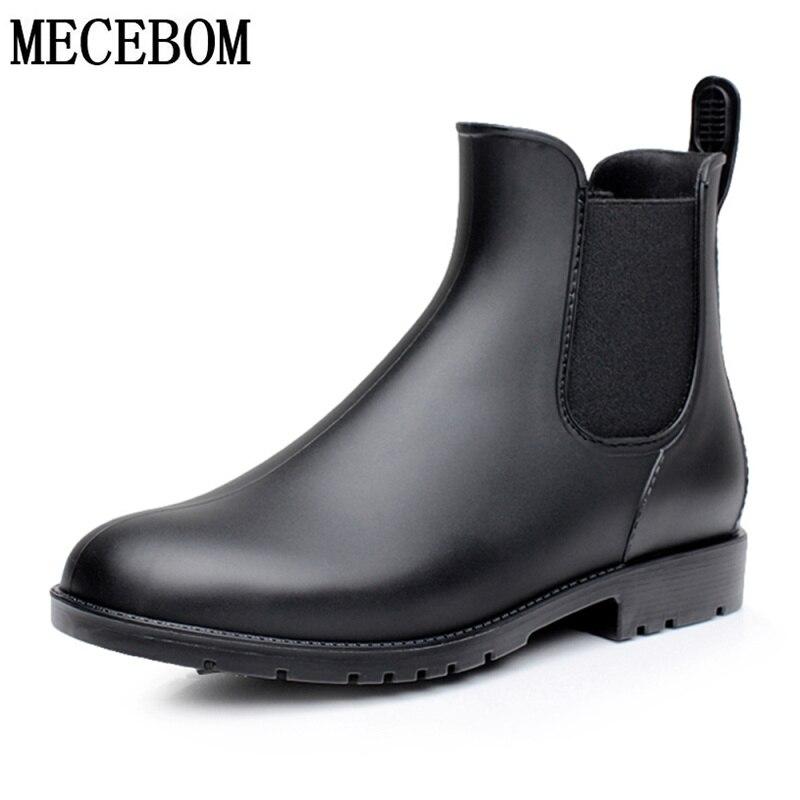Botas de Chuva dos homens Botas Chelsea Black para o Sexo Masculino Slip-on PVC Impermeável Ankle Boots Sapatas Dos Homens dia Chuvoso rainboot botas hombre 102 m