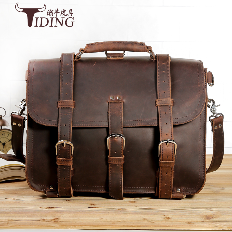 Crazy Horse Leather Briefcase Men 2017 New Man Brands Brown Vintage Extra Large Business Travel Handbags Bags 17