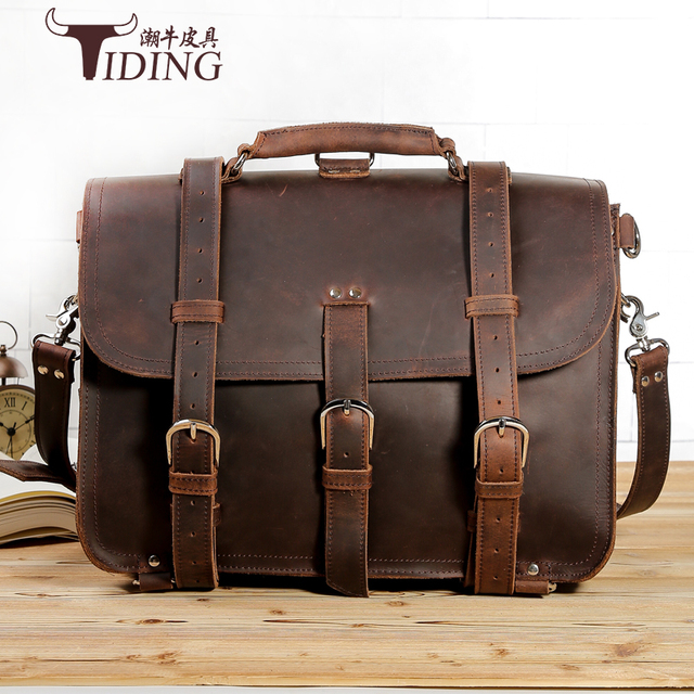 "Crazy Horse leather briefcase men 2017 new man brands brown vintage extra large business travel handbags bags 17"" laotop bags"