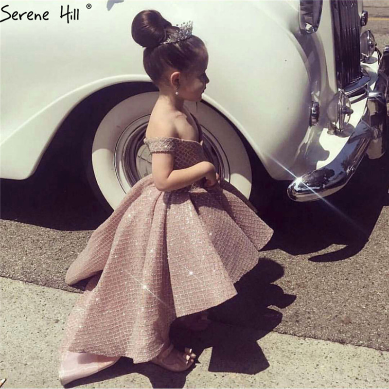 Pink Sequined Shiny Sleeveless Flower Girl Dress Off Shoulder First Communion Dresses For Girls 2019 HTA0018