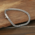 S925 wholesale silver jewelry Mens handmade silver buckle 4m Thailand simple rope bracelet