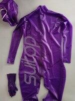 Для женщин резиновый комбинезон (цельные комплекты) Латекс Корректирующие боди для в trasparent фиолетовый с молнией сзади к промежности