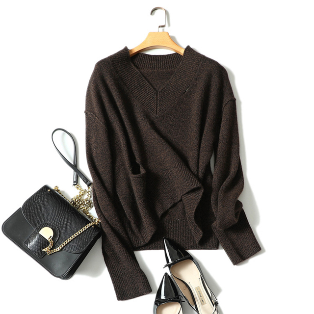150794ce5 US $167.65 10% OFF 100% Real Cashmere Sweater Women Pullovers V neck Dark  Coffee Sweaters Female Knitting Thick Warm Winter Jumpers Tops Plus Size  -in ...
