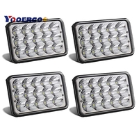2Pair 4x6 45W led sealed headlamp with High/Low beam H4 plug 12v 24v led truck light used for truck
