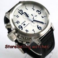 Мм 50 мм Parnis белый циферблат черные знаки хронограф левша кварцевые мужские часы
