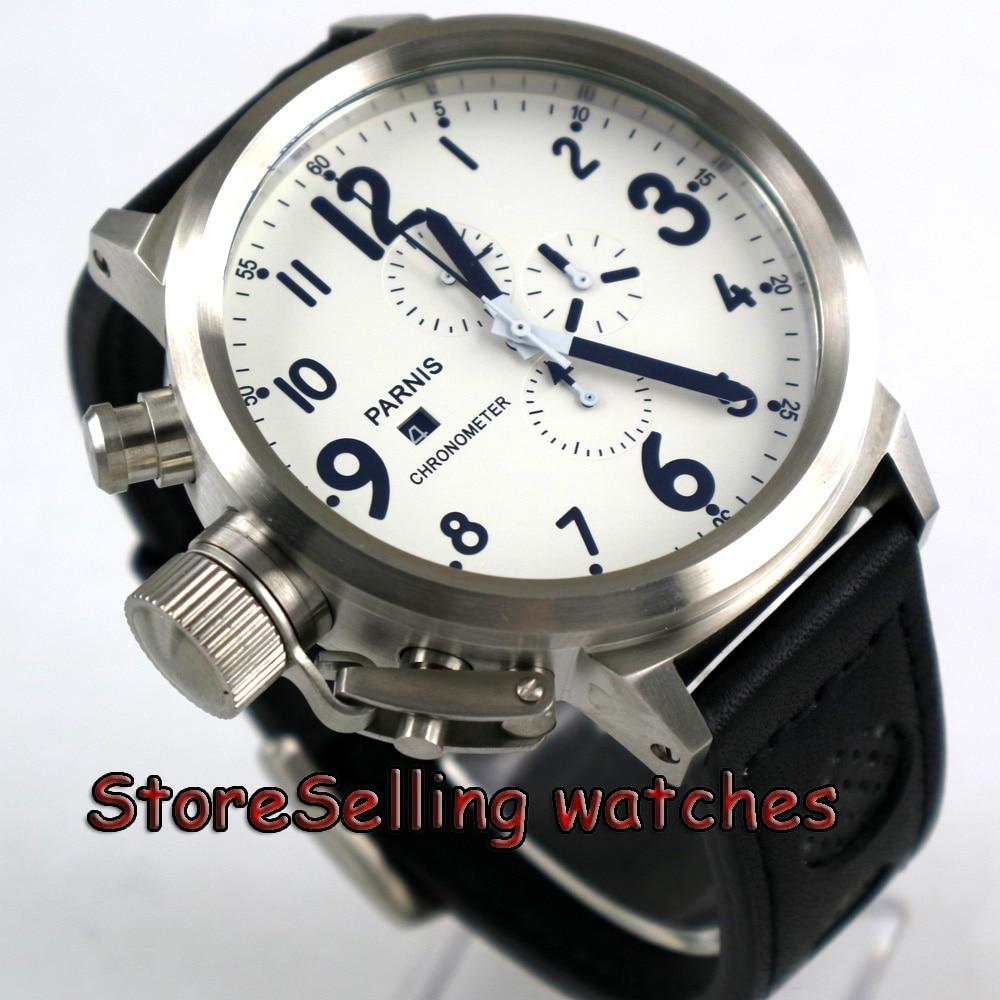 50mm Parnis cadran blanc noir marques chronographe gauche quartz hommes montre