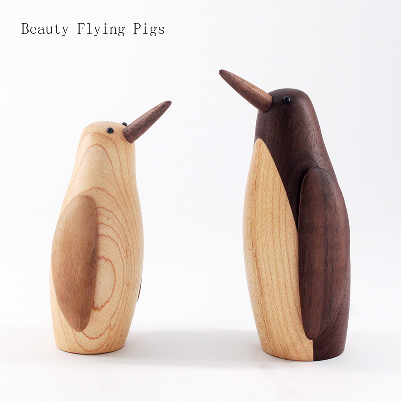 European Meng Dada wooden penguin ornaments car home decoration crafts solid wood decorations birthday gifts free shipping(China)